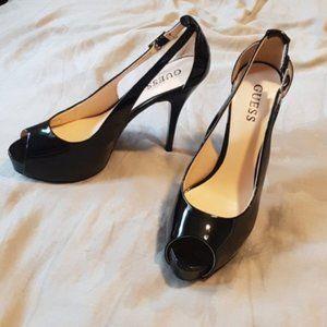 Guess peep toe patent buckle heels